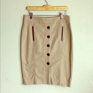 Ann Taylor khaki button down mini skirt
